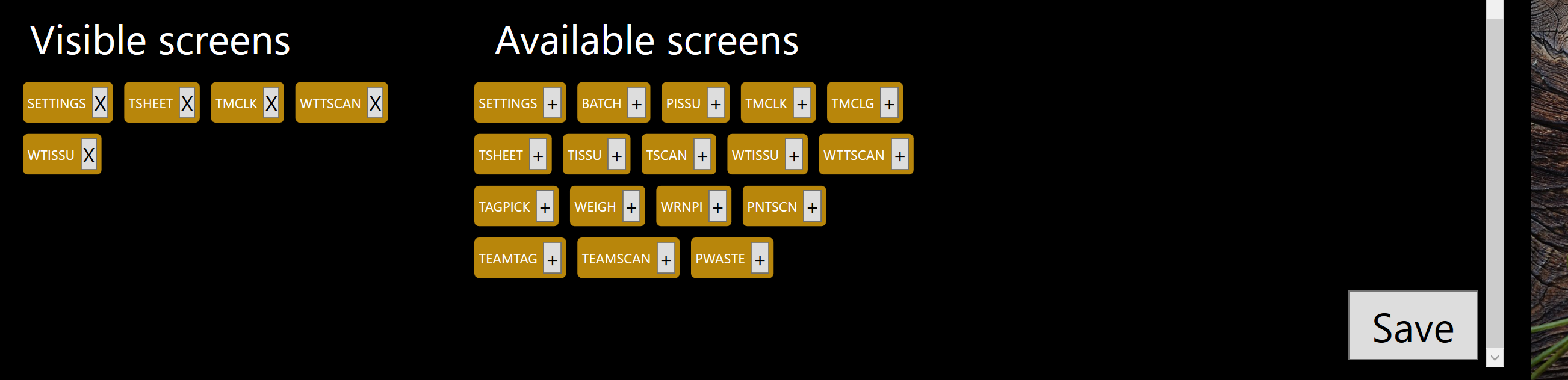 Available screens